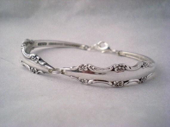 Silver Spoon Bracelet Silver Vintage Silverware Jewelry  - EMPRESS 1969