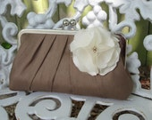 Precious Pleat Kisslock- Bridal Clutch or Bridesmaid Clutch- Cafe au Latte