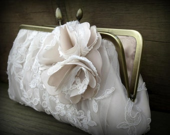 Blush Bridal Clutch, Ivory Wedding Clutch, Lace Clutch, White Bridal Clutch, Blush Purse {Couture Lace Gathered Pleat with Blossom}