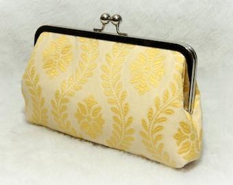 Yellow Clutch, Formal Clutch, Bridesmaid Gift Idea, Prom Purse, Vine Motif {Di-Vine Kisslock}