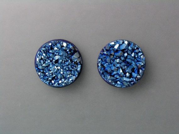 Steel Blue Drusy Cabochon Pair