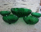 vintage  forest green burple berry bowl set