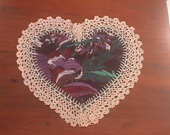 Dresser Doily Heart - 10 x 11 1/2 - Ecru  or White Hand Crochet
