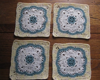 Moroccan Tile Coasters Hand Crocheted with Cotton Bedspread Thread Set of Four