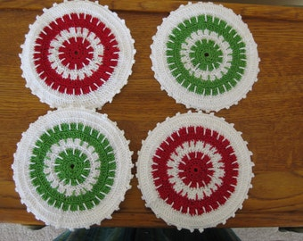 Round Coasters Hand Crocheted with Cotton Bedspread Thread Set of Four