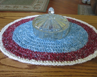 Crochet Rag Oval Mat 20 Inches  X 17 Inches Country Blue, Burgandy and Ecru