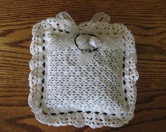 Wedding Ring Pillow Hand Crochet