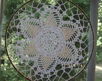 Suncatcher Gold Glass Seedbeads 8 Inches Diameter Hand Crochet