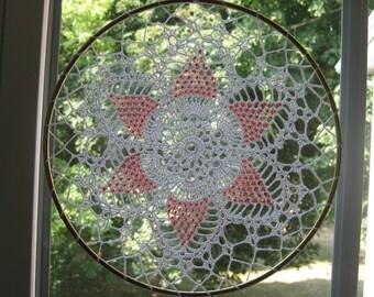 Suncatcher red Glass Seedbeads 8 Inches Diameter Hand Crochet