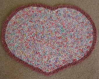 Crochet Rag Heart Mat 18 Inches  X 13 Inches Soft Tropical Colors