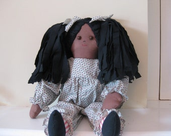 Cloth Doll Ethnic Handmade 22 inch  with Rag Hair