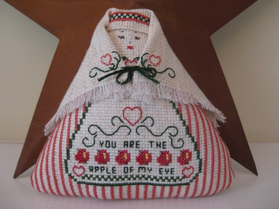 Apple Doll Counted Cross Stitch 5 1/2 Inches Tall
