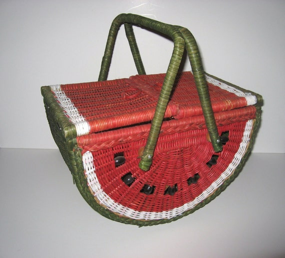 Vintage Picnic Basket Wicker Watermelon 1960s 1970s Sewing
