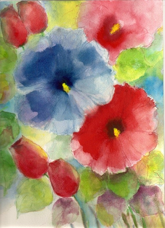 Original Water color Painting floral  Abstract WCF-050 with multiple shipping discount