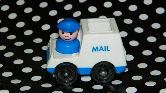 Vintage Fisher Price Mail Man and Mail Truck Little People