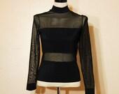 Sheer Black Blouse Bandage Goth Bodycon Dominatrix Medium Large 80s Vintage