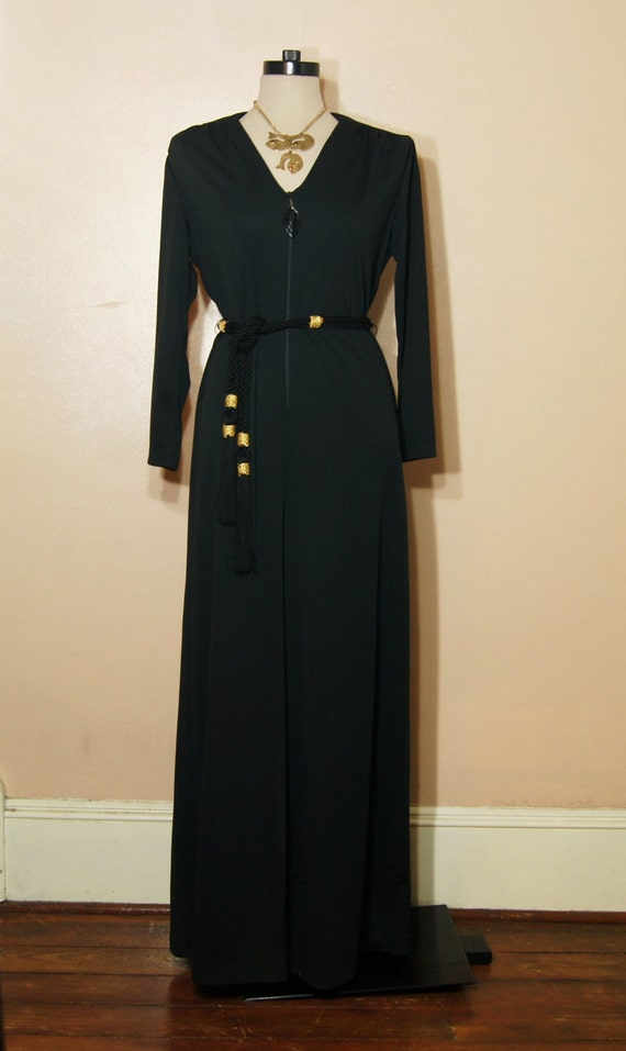 60s/70s Black Jumpsuit Palazzo Pant Wide Bell Bottom Goth Witchy Large XL Disco Retro
