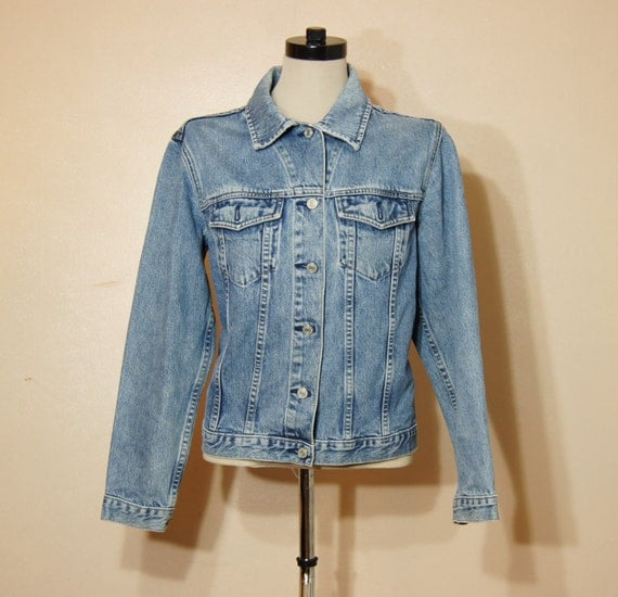 90 Jeans Jacket THE GAP Vintage Grunge Rocker Denim Large