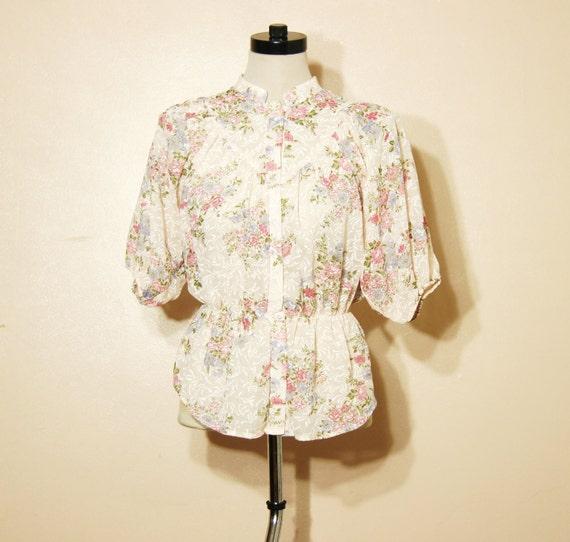 60s Floral Peplum Blouse Pastel Pink Vintage Small Medium Boho Hippie Victorian Semi Sheer