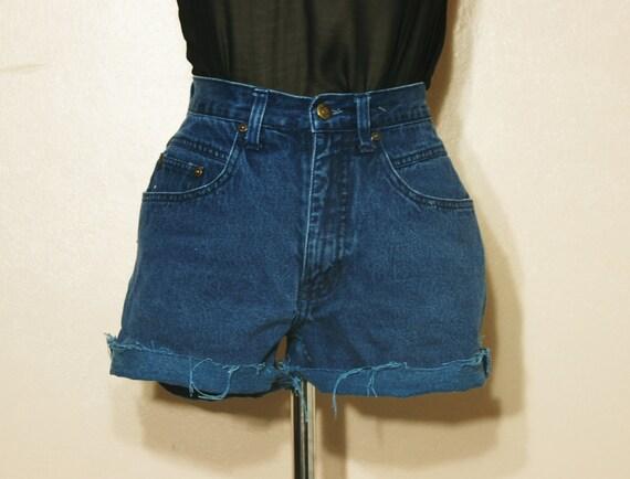 90s Grunge Cutoff Shorts High Waist Dark Blue Denim Small Medium Size 4 L.A. Blues