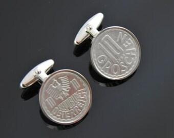 Austria Cufflinks - Austrian coin-10 groschen- 100% satisfaction