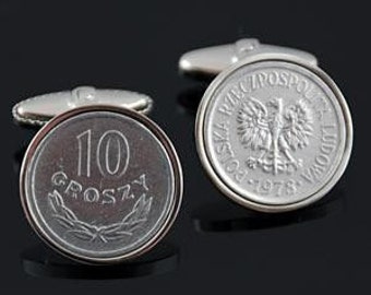 Polish wedding-Handmade Cufflinks- Poland 10  Groszy Cufflinks-Genuine Polish coins- Perfect gift
