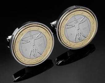 Gift Ideas - Leonardo Da Vinci Cufflinks - Vitruvian Man Cufflinks - Mint coins - Rare cufflinks - 100% satisfaction