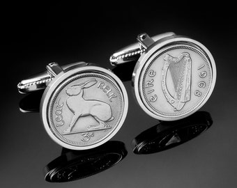 53rd Birthday Gift -Cufflinks 1964 Gift- 1964 Birthday Present for Men-Irish 1964 Threepence Coin - Silver Gift Box Included