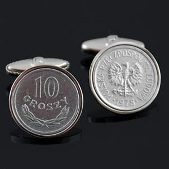 Poland  Cufflinks- Polish 10  Groszy Cufflinks-Genuine Polish coins- Perfect Poland gift