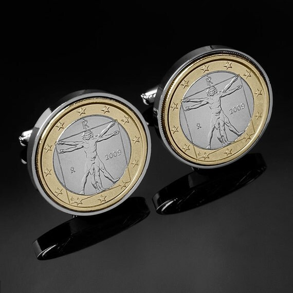 Da Vinci Cufflinks - Vitruvian Man Cufflinks-Mint coins-Rare cufflinks-Cufflinks in Handmade