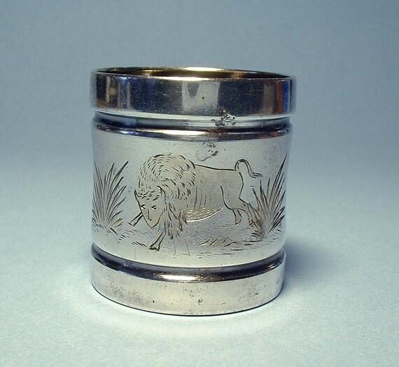 Vintage Silver Plate Buffalo Napkin Ring - RARE - SALE