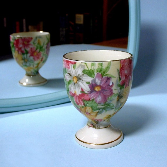 Vintage Floral Hand Painted Egg Cup