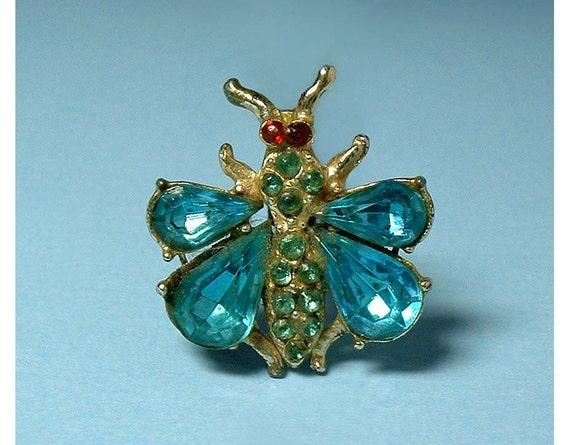 Vintage Sky Blue Rhinestone Butterfly Brooch