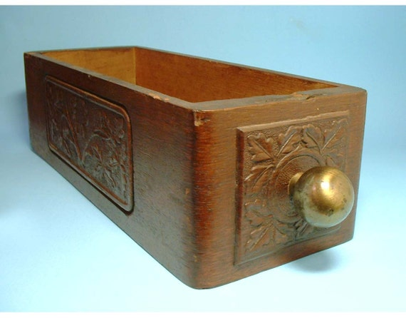 Vintage Sewing Drawer with Carving on Front and Side
