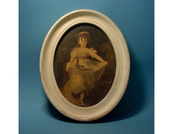 Vintage 19th Century Ballerina Print in Oval Frame