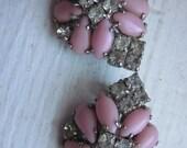 Super fun & glitzy Pink / Clear rhinestone earrings