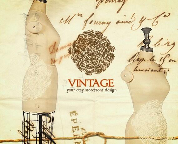 RESERVED for ElizaJonesInVintage - Vintage Thirty Six - Etsy Shop Banner Set, 6 graphics