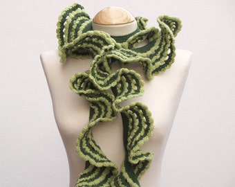 Dark and light green flounced crochet scarf