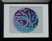 Painted Celtic Knot in Purple and Turquoise