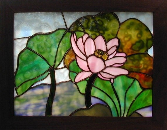 Stained Glass Lotus Panel