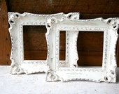 Two  Antique White Distressed Frames  - Ornate and Super Shabby Chic