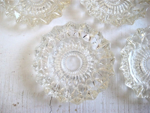 SALE - Set of Five Vintage Ornate Glass Coasters or Candle Holders
