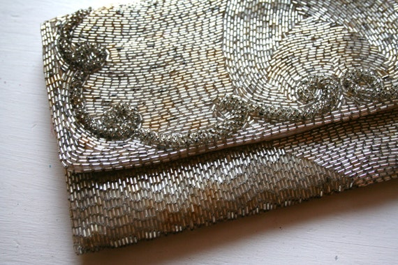 Antique Large Beaded Clutch - Gorgeous Detailing - Great Condition