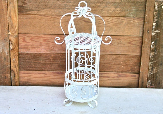 A Vintage Ornate Metal Birdcage - Upcycled with White Paint and Distressed - 16 inches tall