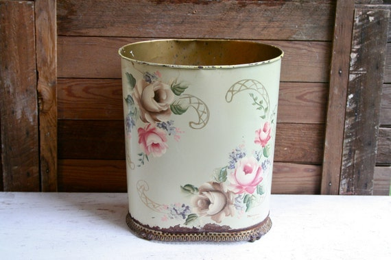 SALE - Beautiful Antique Hand Painted Rusted Waste Bin - So Shabby Chic