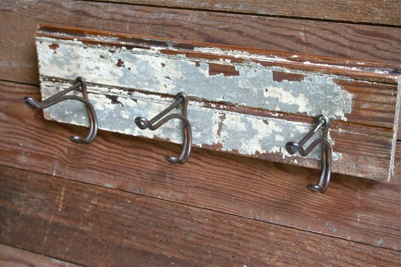 Shabby Chic Wall Hanger - Blue Chippy Wood with Three Vintage Hooks - Upcycled Decor