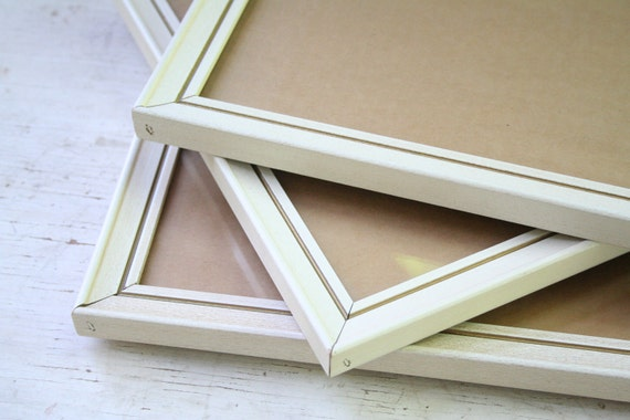 Three Vintage Gold and White Wood Frames - 8 x 10 - 11 x 14 - Includes Glass