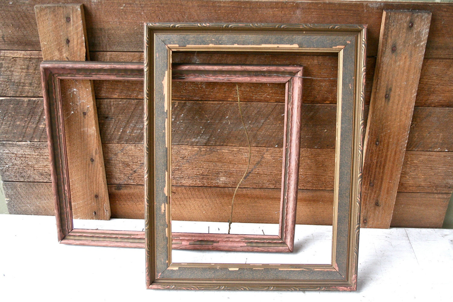 Two Antique Wood Frames Rustic Home Decor