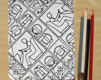A5 sketch book / notebook, Black on White, Pattern No. 42WB