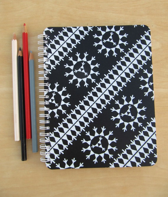 A5 sketch book / notebook, White on Black, Pattern No. 44BW